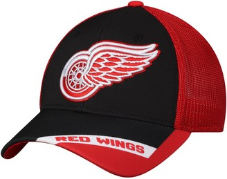 adidas Men's Black/Red Detroit Red Wings Sublimated Visor Meshback Flex Hat