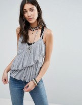 Free People Melbourne Solid Frill Tank Top