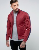 Fred Perry Contrast Panel Track Jacket In Maroon