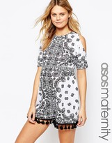 Asos Playsuit In Mono Print With Cold Shoulder And Tassle Hem