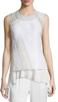 3.1 Phillip Lim Silk Paneled Cross-Back Tank, Cream