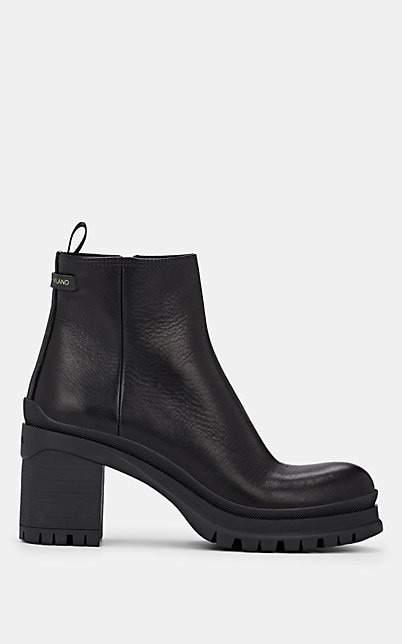 Prada Women's Leather Ankle Boots - Nero