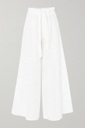 Paper London Curacao Broderie Anglaise Cotton Wide-leg Pants - White