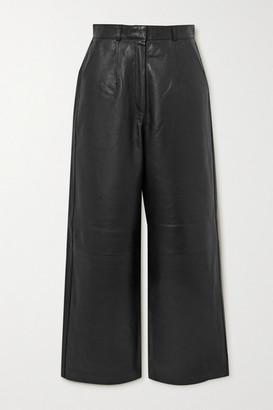 ENVELOPE1976 Net Sustain Oslo Leather Wide-leg Pants - Black