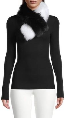 Adrienne Landau 2-Tone Fox Fur Clip Scarf