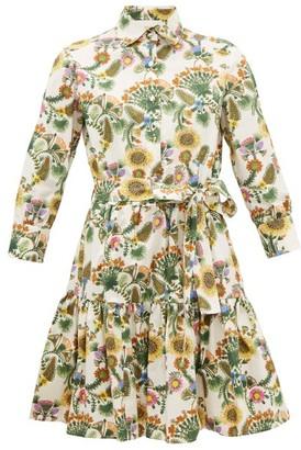 La DoubleJ Bellini Thistle-print Cotton-poplin Shirtdress - Womens - Cream Print