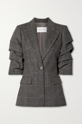 Michael Kors Collection Gathered Houndsooth Wool-blend Blazer - Dark gray