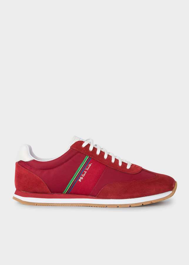 Paul Smith Men's Red 'Prince' Sneakers With 'Sports Stripe' Webbing