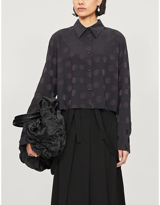 Song For The Mute Polka-dot cropped crepe shirt
