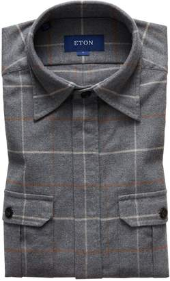 Eton Soft Collection Trim Fit Flannel Shirt Jacket