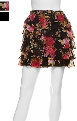 Marley Silk Layered Ruffle Mini Skirt