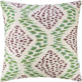 Les Ottomans - Silk Ikat Cushion - 60x60cm - Green Diamond Smudge Pattern