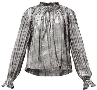 Jonathan Simkhai Ruffled High-neck Plisse-lame Blouse - Silver