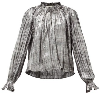 Jonathan Simkhai Ruffled High Neck Plisse Lame Blouse - Womens - Silver