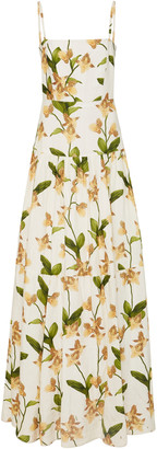 Agua Bendita Lima Jardin Floral-Print Linen Maxi Dress