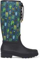 Tory Burch Lana Printed Canvas And Rubber Rain Boots