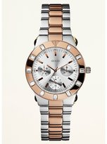 GUESS Feminine High-Shine Sport Mid-Size Watch - Rose Gold and Silver