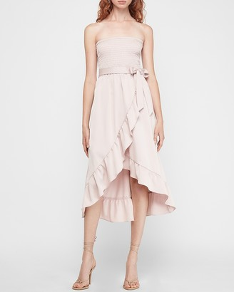 Express Strapless Smocked Ruffle Wrap Midi Dress