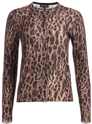 Saks Fifth Avenue COLLECTION Leopard-Print Cashmere Cardigan