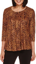 Sag Harbor Artful Animal-Print 3/4-Sleeve Faux-Suede Double Layer Top