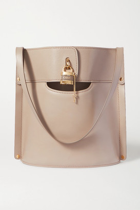 Chloé Aby Smooth And Textured-leather Tote - Gray