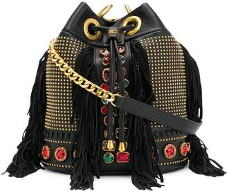 La Carrie embellished leather shoulder bag