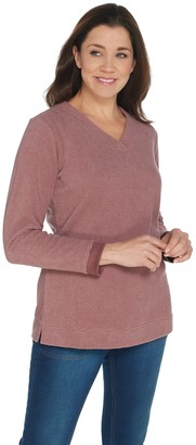 Denim & Co. Petite Textured Fleece V-Neck Long-Sleeve Tunic