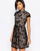 Vila High Neck Lace Capped Sleeve Dress