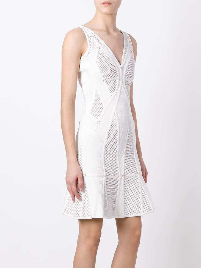 Herve Leger perforated flared dress