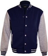 Guytalk Men's Letterman Style Premium Detachable Hooded Varsity Baseball Jacket