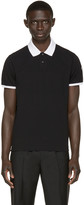 Moncler Black Contrast Collar Polo
