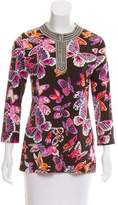 Tory Burch Butterfly Print Beaded Top
