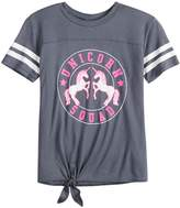 "Miss Chievous Girls 7-16 Unicorn Squad"" Tie-Front Varsity Tee"