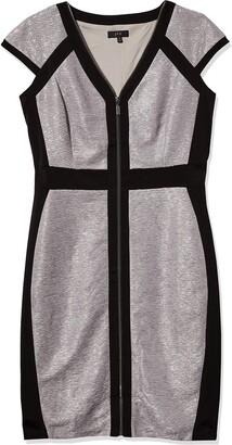 Jax Women's Extrended Slleeve Heritage Zip Front Metallic Knit Dress