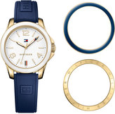 Tommy Hilfiger Women's Casual Sport Navy Silicone Strap Watch and Interchangeable Bezels Set 34mm 1781679
