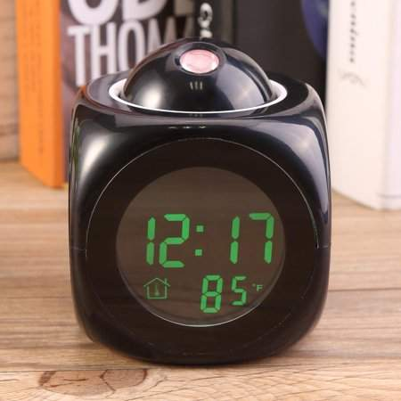 Digital Alarm Clock, Estink Multi-function LCD Display Wall Projection  Alarm Clock with Voice Talking and Temperature Display