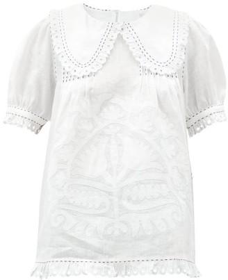 Vita Kin - Shalimar Floral-applique Linen Blouse - White