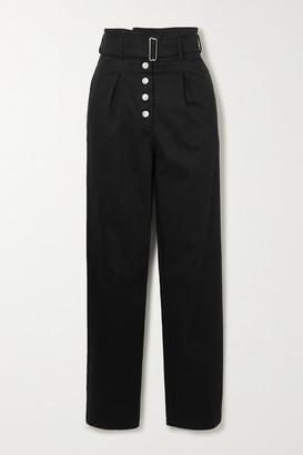 The Range Belted Grain De Poudre Cotton-blend Straight-leg Pants - Black