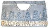 The Well Appointed House Light Blue & Ivory Clutch with Mother of Pearl Beading - IN STOCK IN OUR GREENWICH STORE FOR QUICK SHIPPING
