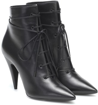 Saint Laurent Romy 95 leather ankle boots
