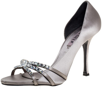 Le Silla Grey Satin Crystal Embellished Strappy Sandals Size 38.5