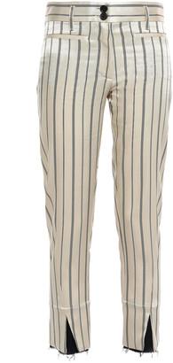 Ann Demeulemeester Cropped Striped Satin-twill Slim-leg Pants