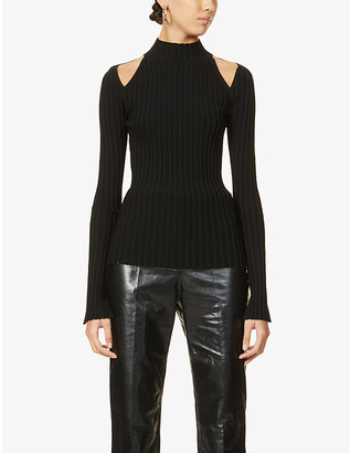 Helmut Lang Cut-out shoulder stretch-jersey top