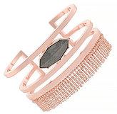 Jessica Simpson Grey Stone Chain-Fringed Cuff Bracelet