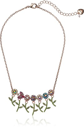 Betsey Johnson Colorful Stone Flower and Bettle Frontal Necklace