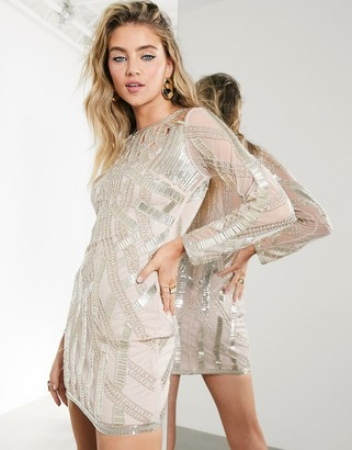 ASOS EDITION linear beaded mini dress with cutwork detail