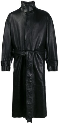 AMI Paris Oversized Leather Trench Coat