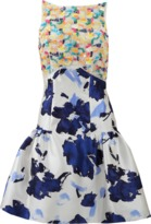 Oscar de la Renta Drop Waist Mixed Media Dress