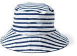 Classic Women's Striped Reversible Bucket Sun Hat-White/Golden Straw Multi