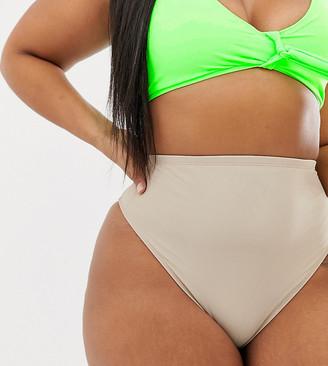 ASOS DESIGN curve high waist bikini bottom in mink